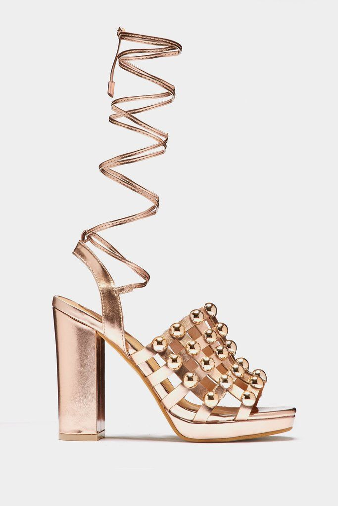 c8d0ab4461fa Rose Gold Block Heel Beaded Caged Shoes