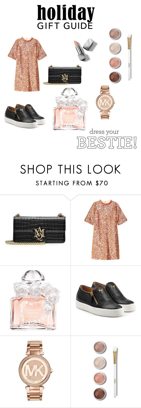 """""""Holiday gift guide"""" by rea-godo ❤ liked on Polyvore featuring Alexander McQueen, Guerlain, Giuseppe Zanotti, Michael Kors, Terre Mère and Burberry"""