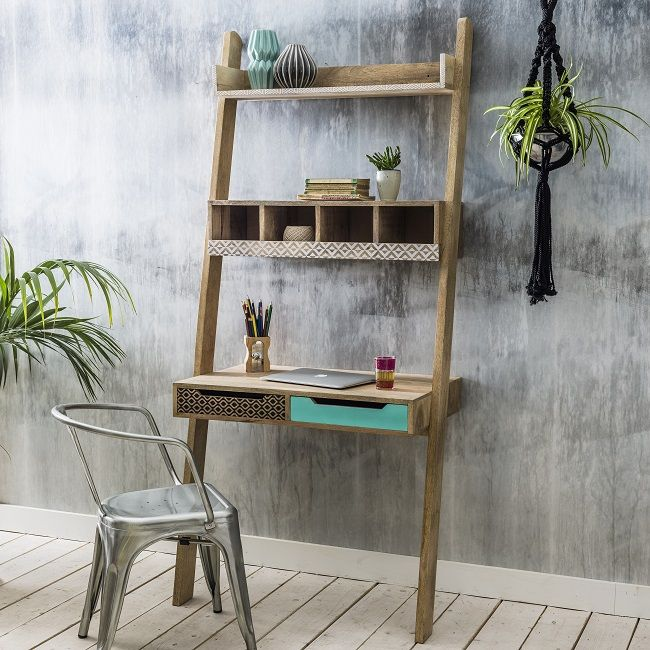 Adorable Mango Wood Storage Furniture Ladder Desk Wood Storage