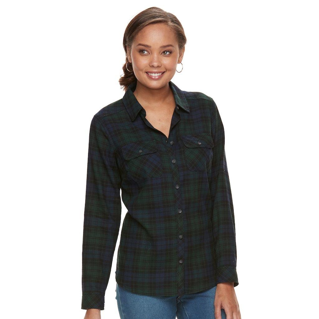 Flannel shirt women  Croft u Barrow Petite Flannel Plaid ButtonDown Shirt  Flannels and