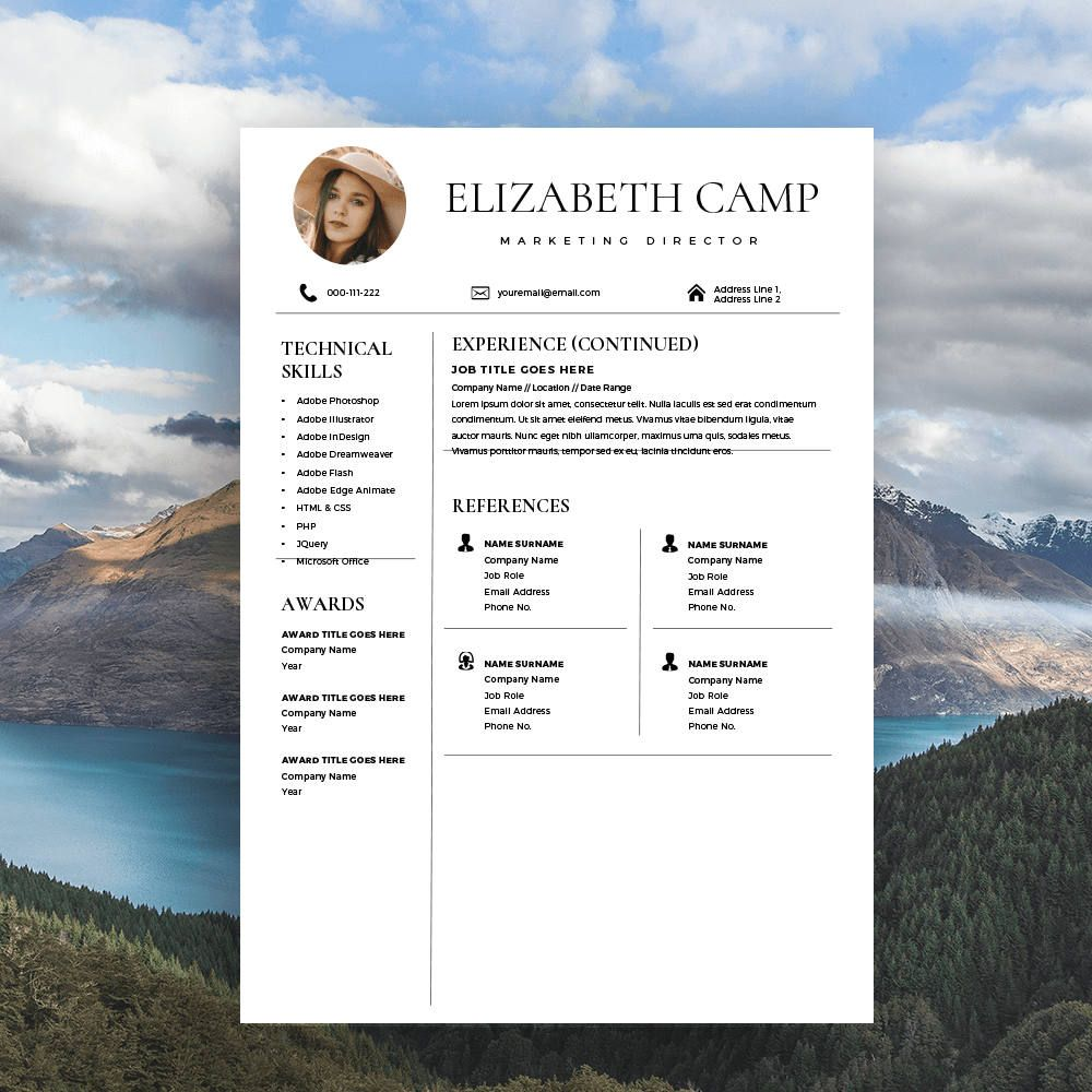 Resume Template with Headshot Photo + Cover Letter, 1/2