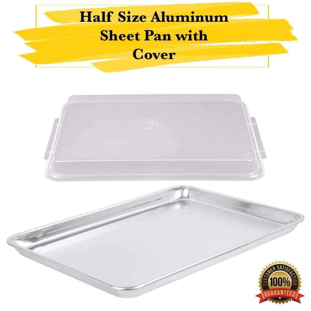 MM Foodservice Half Size Aluminum Sheet Pan with Cover Cover Commercial 19 Gauge 13x18 Professional Baking Pan