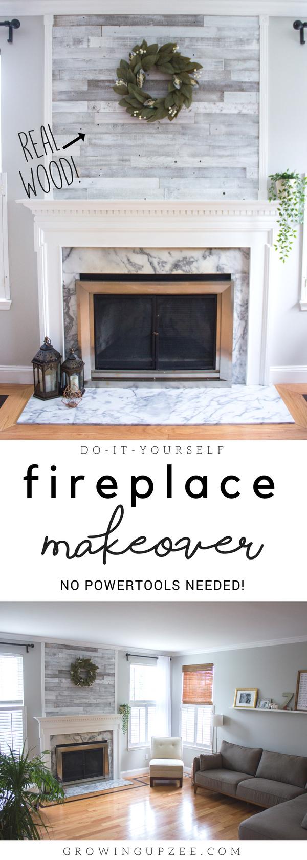 Diy Reclaimed Barn Wood Fireplace Makeover Diy Fireplace