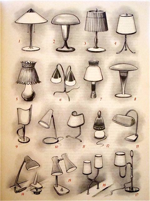 1950s Table Lamps Drawing