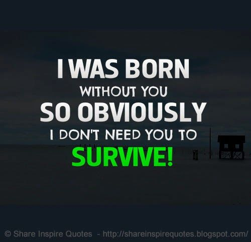 I Was Born Without You So Obviously I Don T Need You To Survive Website Http Bit Ly 1yieogk Relationships Rel Dont Need You I Dont Need You Want Quotes