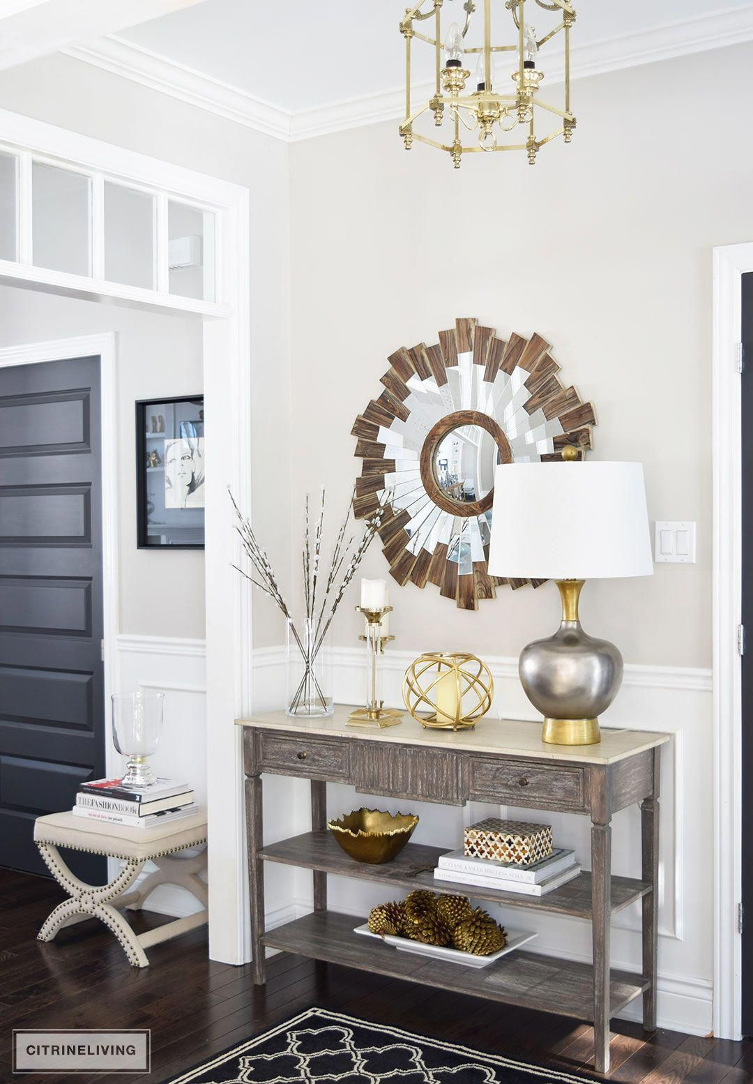 One Table For Ways Shop Your Own Home To Create Unique And New Styling Displays Gold Meta Console Table Decorating Entryway Table Decor Entry Table Decor