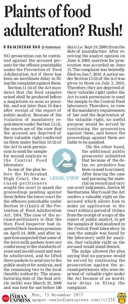 complaints on food adulteration should be filed immediately without inordinate delay legallawyersinhyderabad legaladvocatesinhyderabad