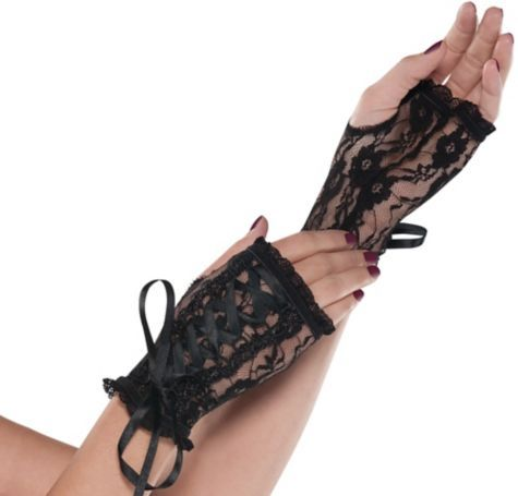 Lace Up Goth Glovelettes - Party City Halloween Accessories - party city store costumes