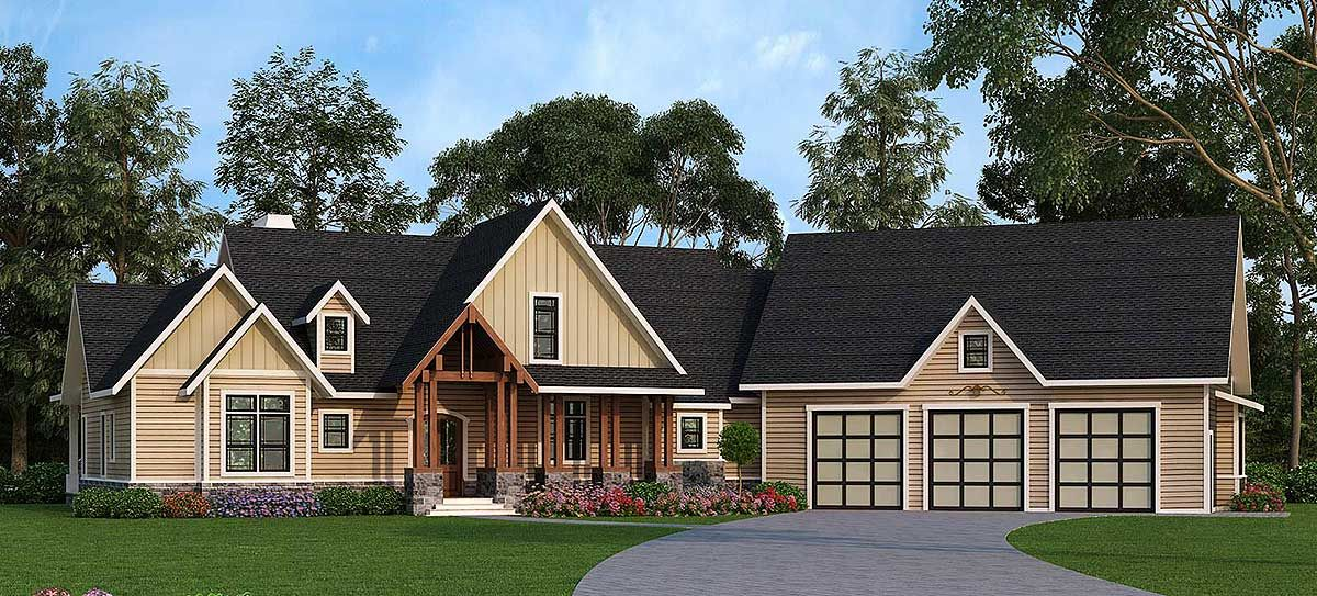Plan 12276jl Rustic Ranch With Bonus Upstairs Spaces In 2021 Ranch House Plans Craftsman House House Plans