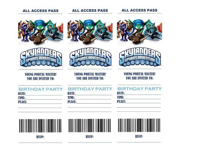 SKYLANDERS BIRTHDAY PARTY INVITATIONS Printable 8ste Verjaardag Verjaardagstaarten Skylanders Feest Kleinkinderen