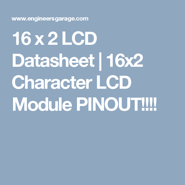 16 X 2 Lcd Datasheet 16x2 Character Lcd Module Pinout