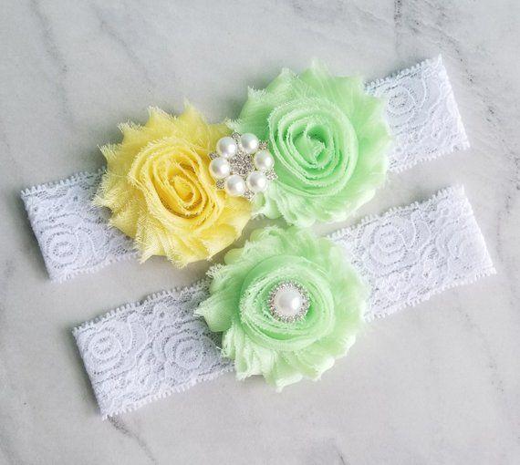 501dad77f MINT Green Wedding Garter Set