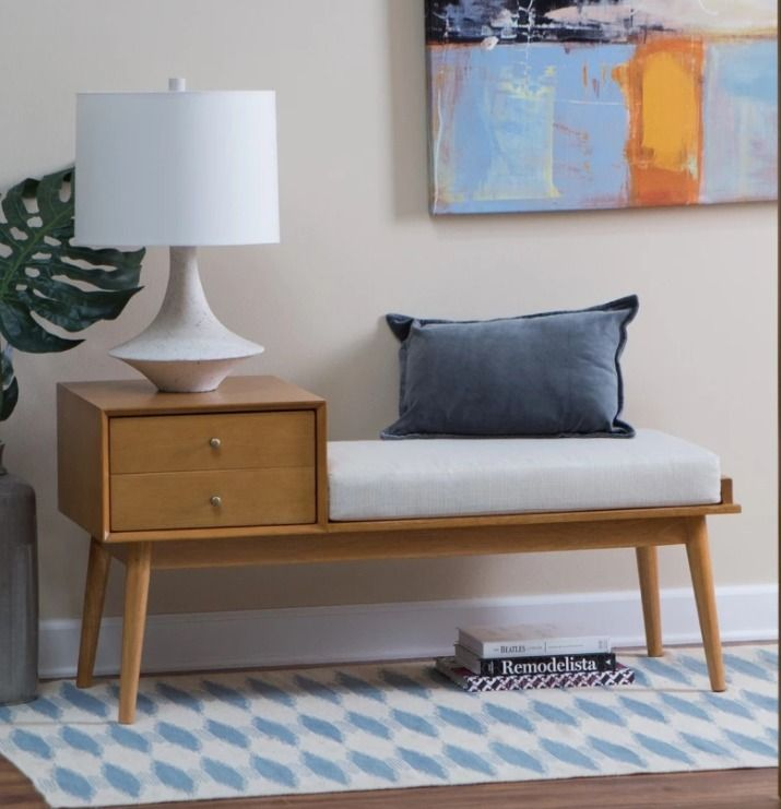 Storage Benches For Entryway Foyer With Cushion Large Drawer Vintage