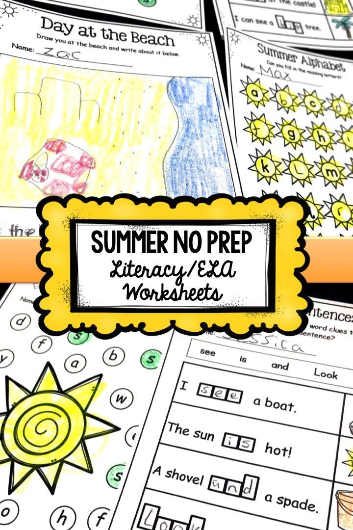 Summer No Prep Literacy Worksheets