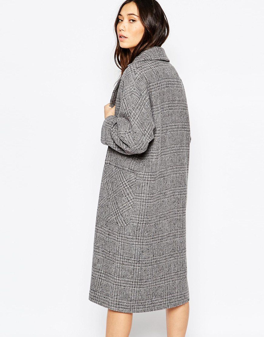 Bild 2 von Helene Berman – Edge to Edge – Grau karierter Oversized-Mantel aus Tweed