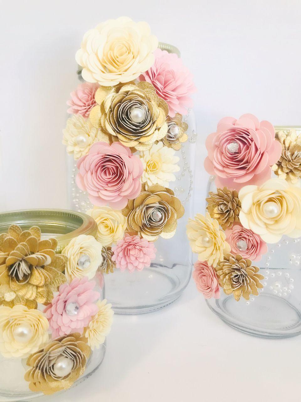 Paper Flower Jar Mini Flowers Paper Flowers Centerpiece Bridal
