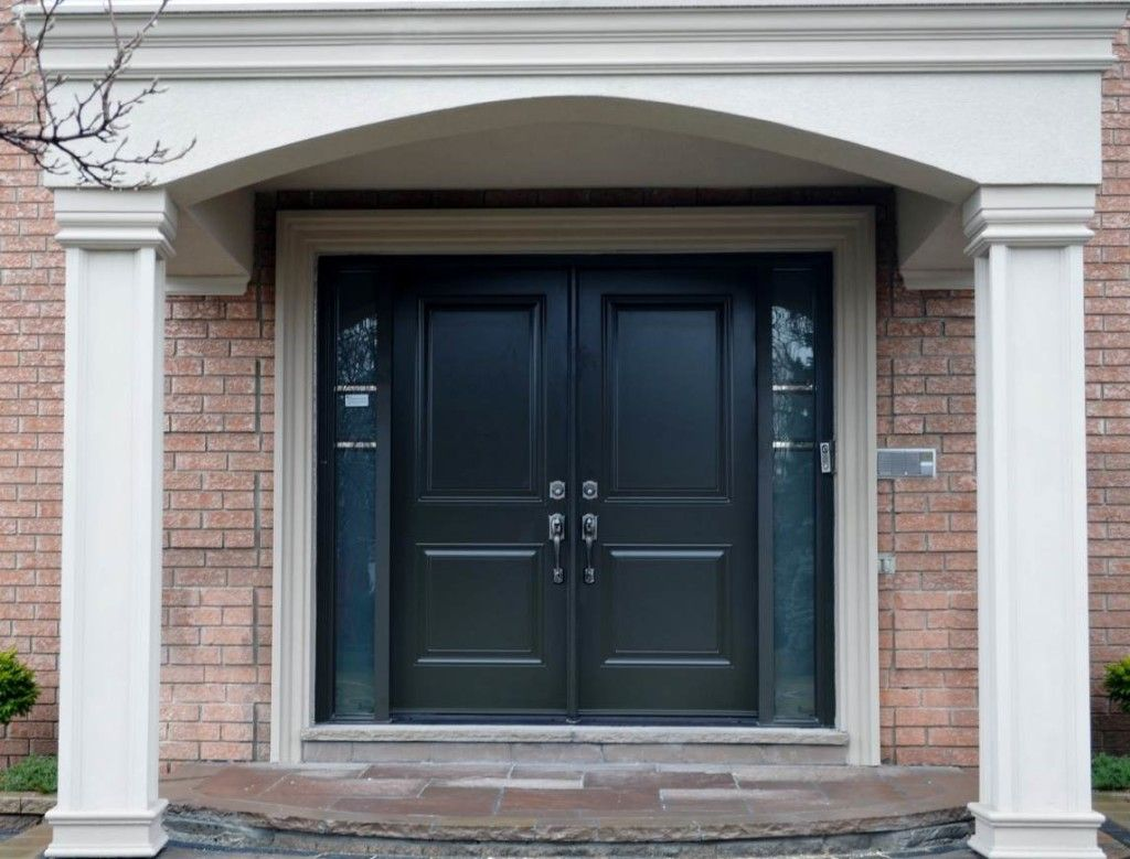 Elegant Black Wood Panel Masonite Exterior Entry Doors Design Collections  With High Rectangle Shaped Double Side