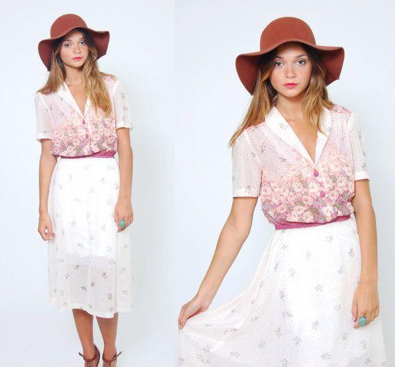 Vintage 70s FLORAL Dress Short Sleeve White Sun Dress by LotusvintageNY