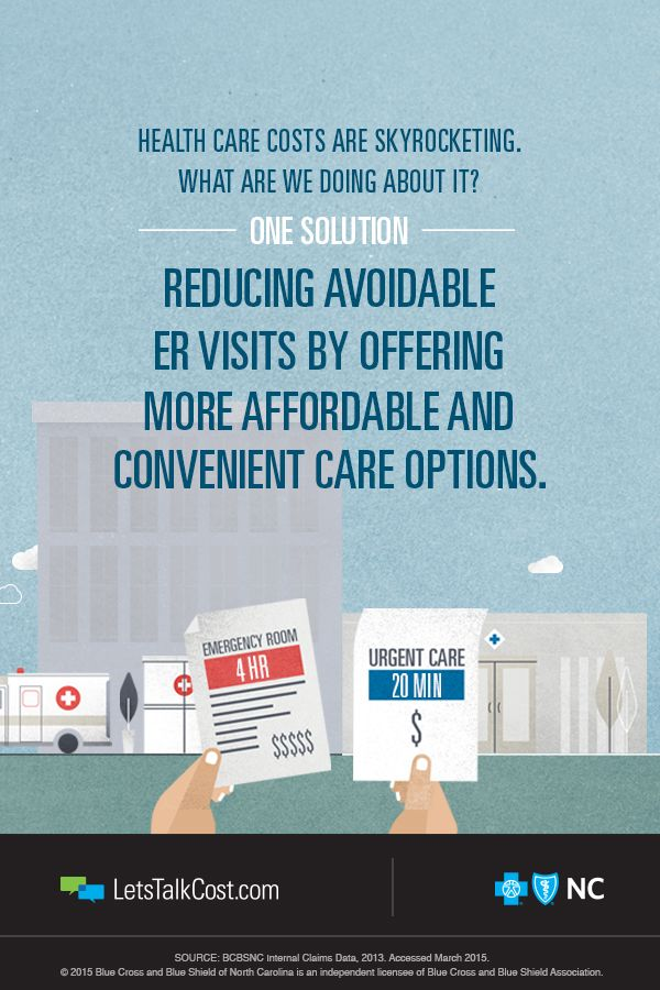 Did you now that an ER visit can cost up to 10x more than urgent care? That's why BCBSNC helps bring urgent care centers where they're needed most and helps North Carolinians find more affordable and convenient health care options. #letstalkcost