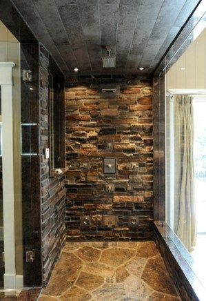 Fascinating Details Shower With Exposed Stone Backsplash And Glass