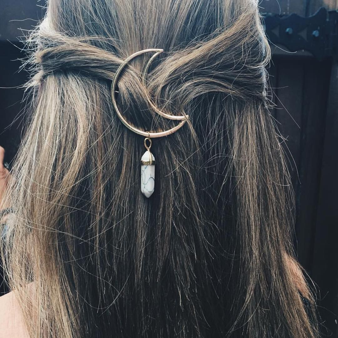 moon crescent with crystal hair clip head piece witchy boho