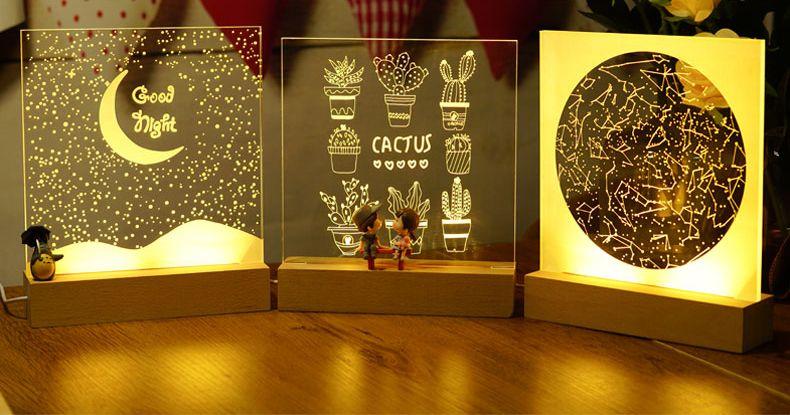 Wholesale 3d Acrylic Wooden Base Wood Led Night Light Diy Buy