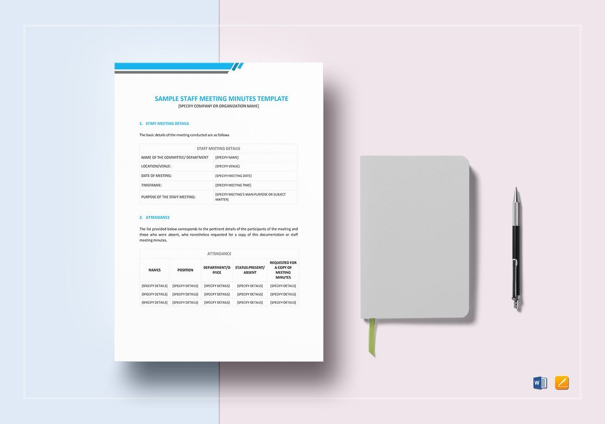 Staff Minutes Of Meeting Template