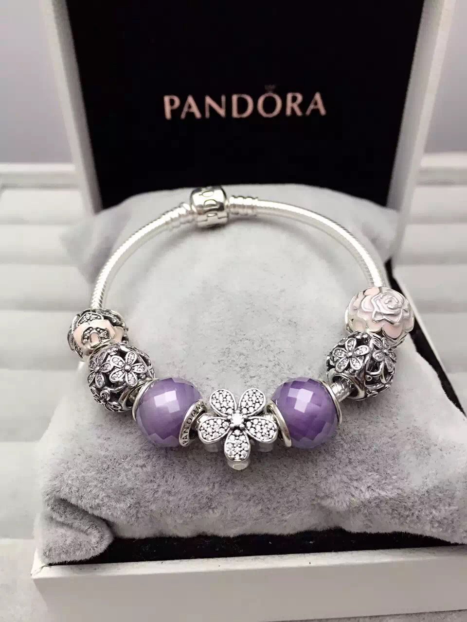 f8f386304ec62 50% OFF!!! $199 Pandora Charm Bracelet Purple Pink. Hot Sale!!! SKU ...