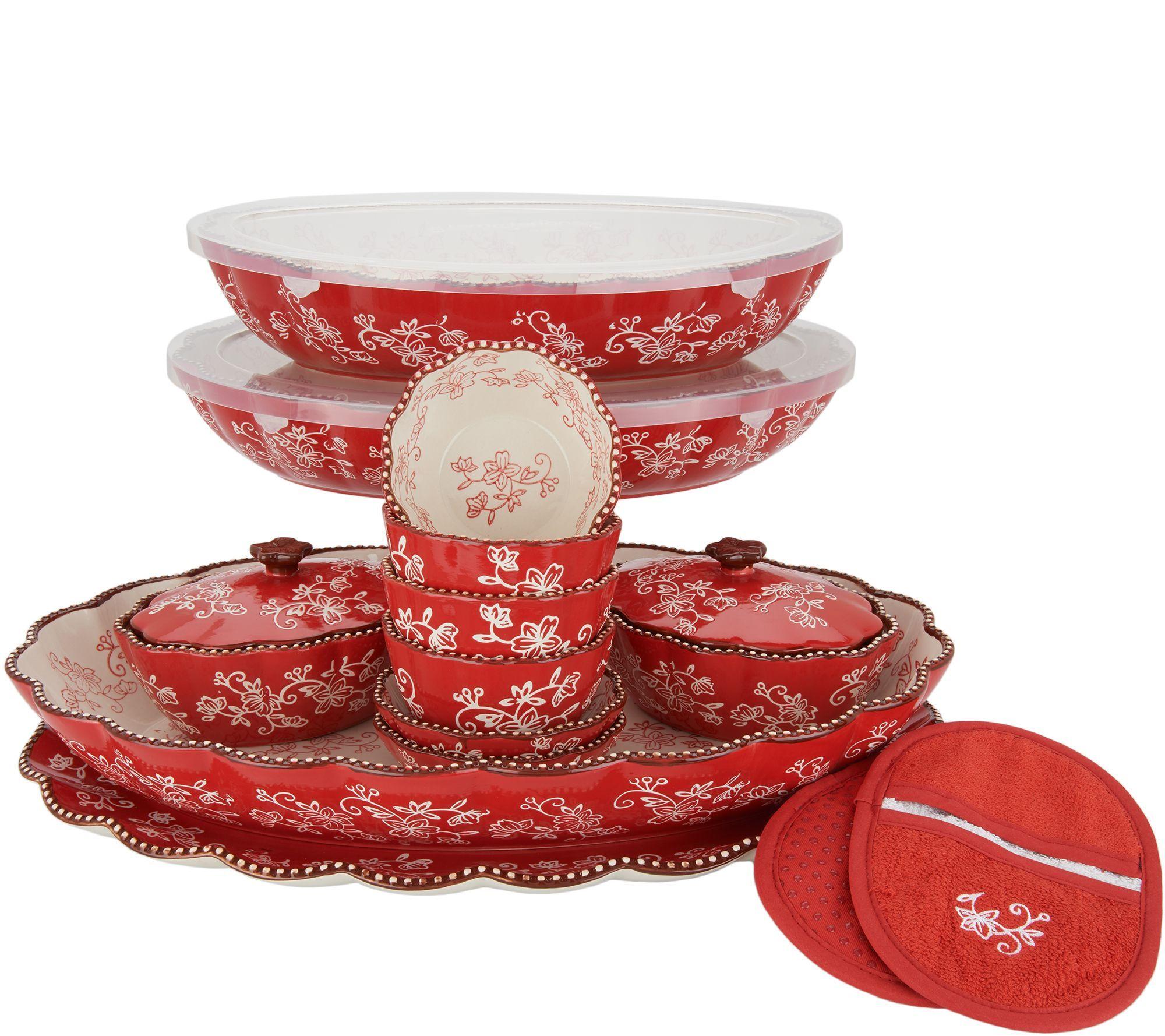 Temp Tations Floral Lace 17 Piece Entertaining Bakeware Set Qvc