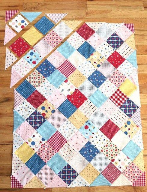 cómo hacer una preciosa manta o colcha de patchwork para
