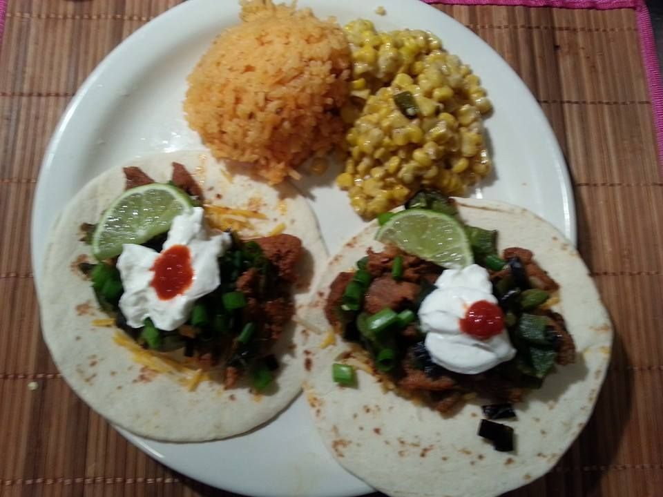 Tacos Al Pastor with Spanish Rice and Columbian Corn