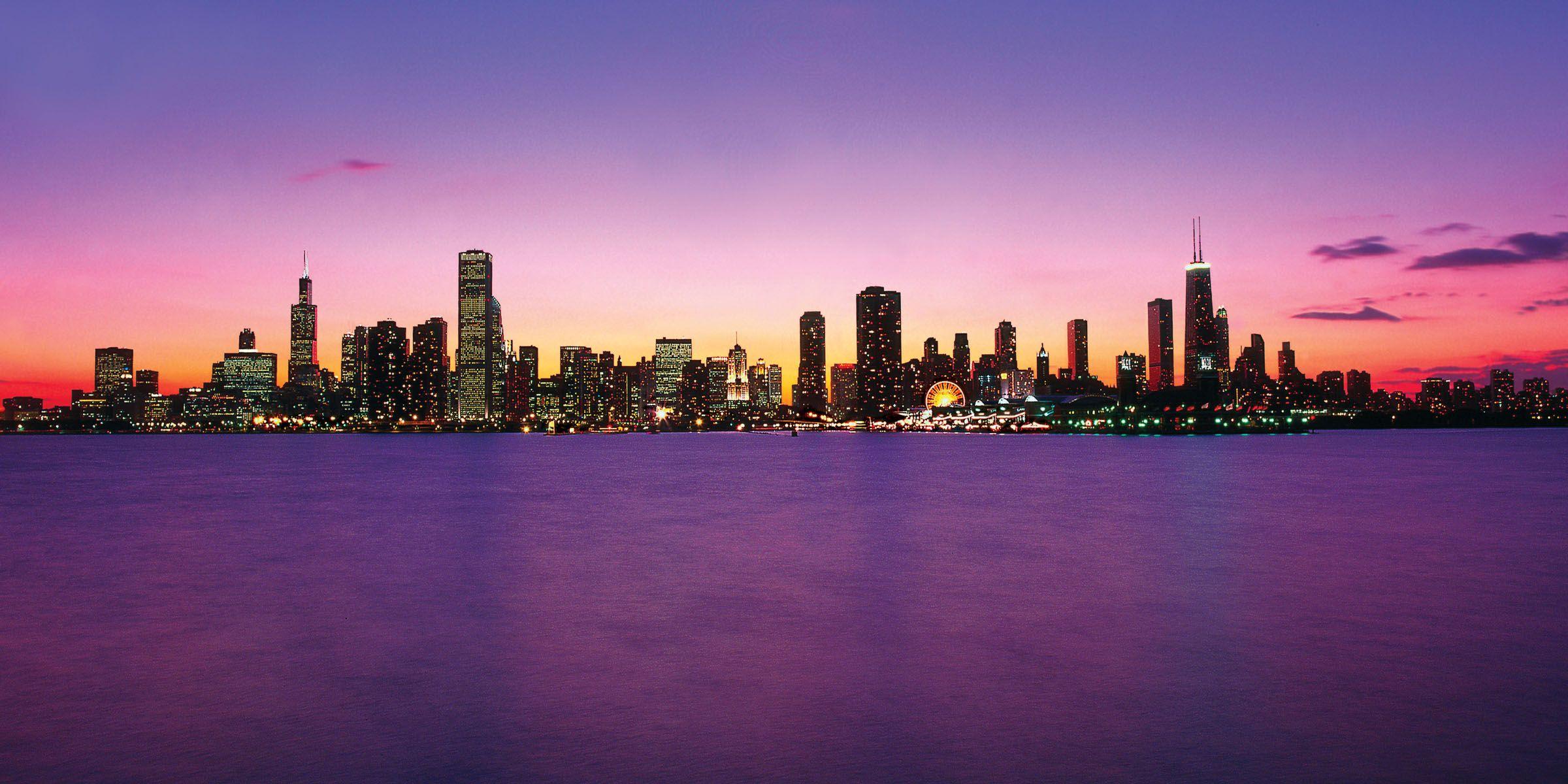 Chicago Skyline Wallpaper Chicago Skyline Purple photos