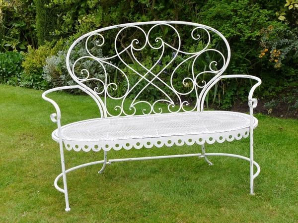 French Style Shabby Chic Ivory Cream Metal Garden Bench With