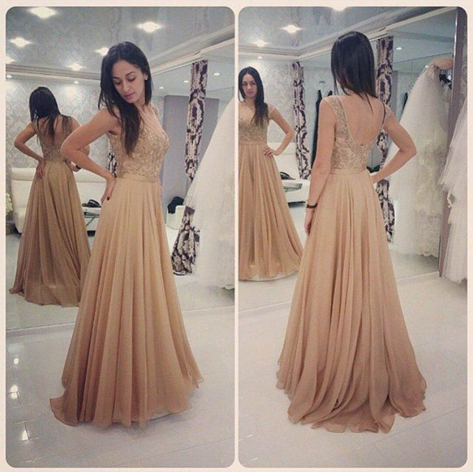 Lovelybride Charming Cap Sleeve Appliques Long Chiffon Prom Evening ...