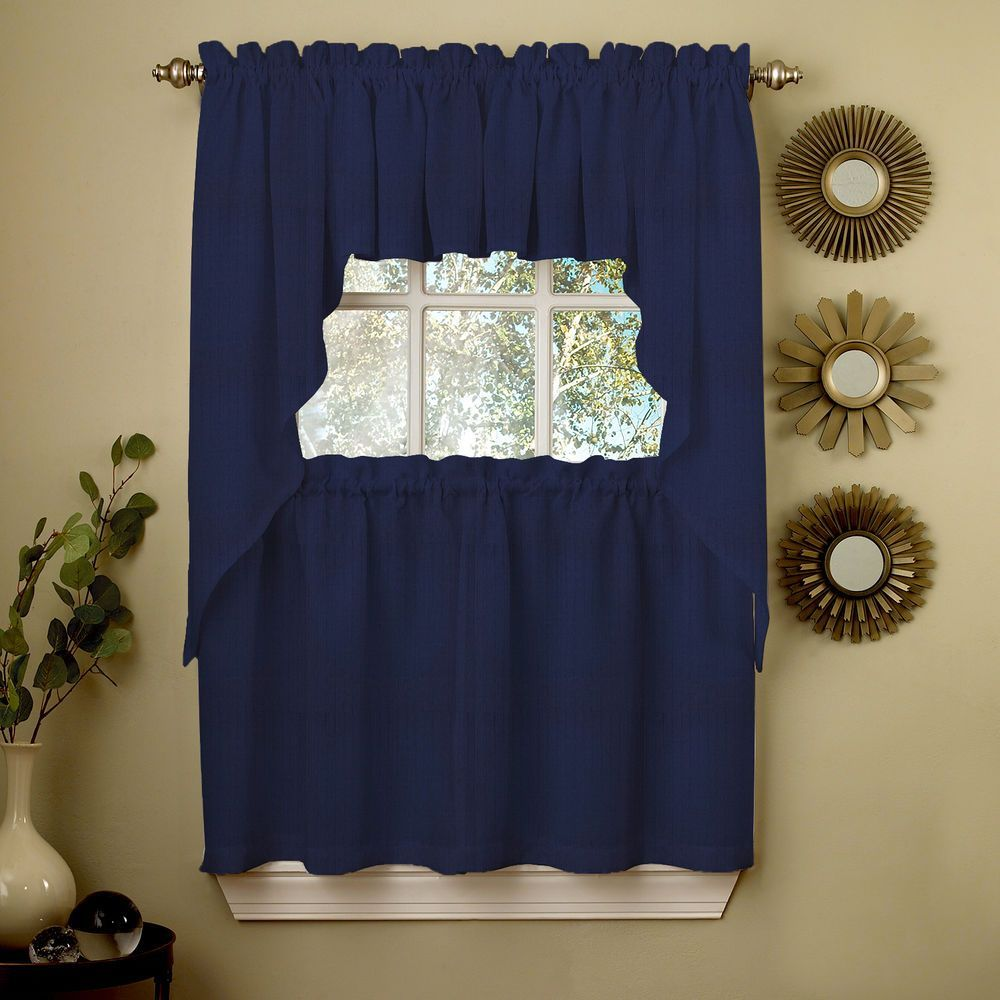Details About Navy Solid Opaque Ribcord Kitchen Curtains Choice