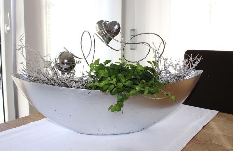td137 edle tisch fenster oder sideboarddeko silberfarbene schale bepflanz mit einer gro en. Black Bedroom Furniture Sets. Home Design Ideas