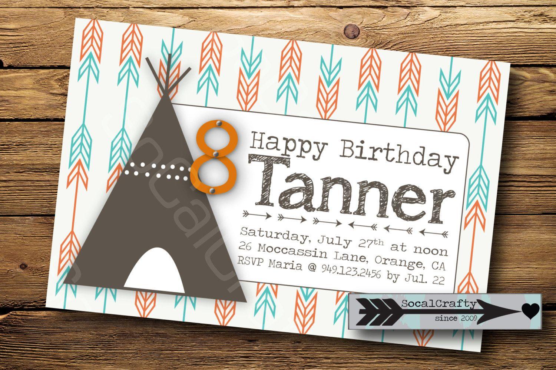 Teepee and Arrow Print Birthday Party Invitation by socalcrafty ...