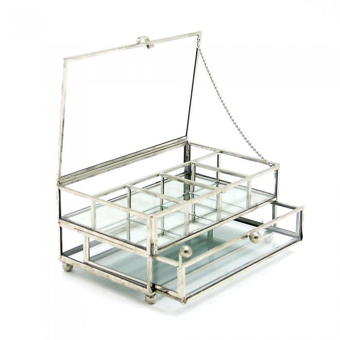 Double Deck Clear Glass Jewellery Box Living Bedroom Pinterest