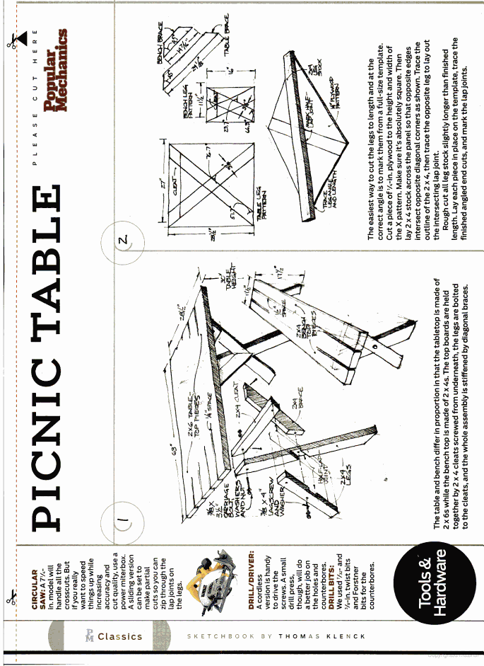 Popular Mechanics Google Books Picnic Table Plans For The