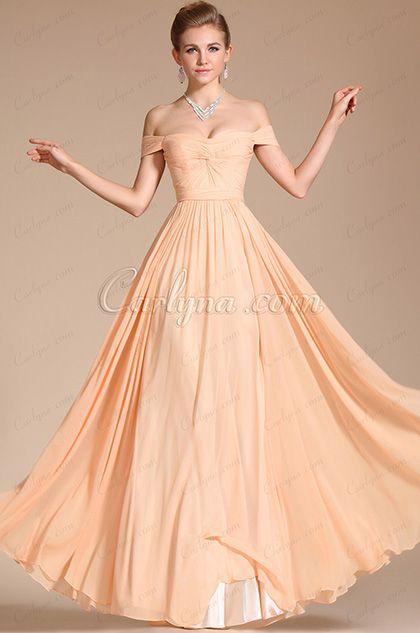 Elegant Peach Off Shoulder Chiffon Gown Bridesmaid Dress (C00090701 ... 30ae5756f75f