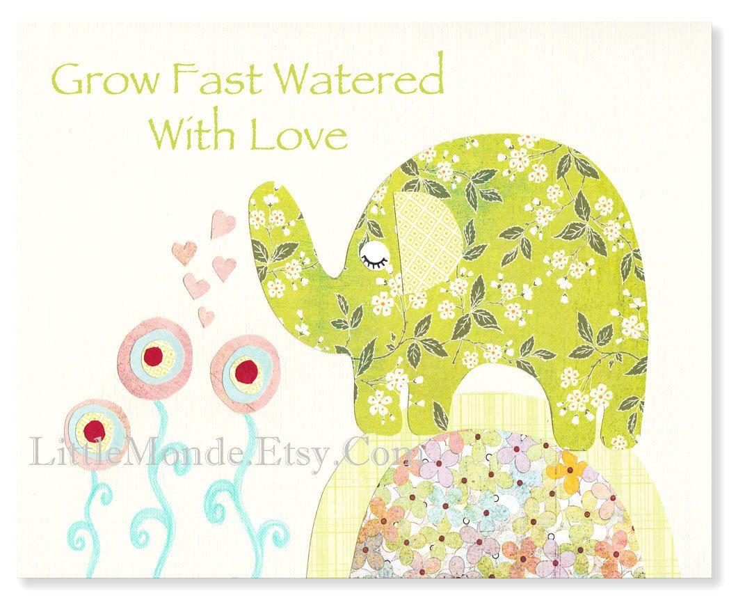 Nursery Art Prints, Elephant Nursery Art, Baby Girl Nursery Prints ...