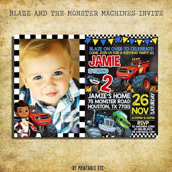 blaze and the monster machines birthday invitation by printableetc