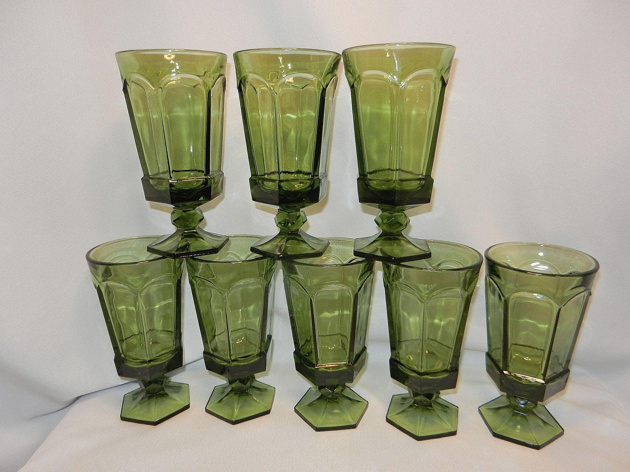 Vintage Fostoria Virginia Green Ice Tea Glass
