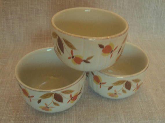3 Hall's Superior Autumn Leaf Custard Cups 6 Oz Mary Dunbar Tested Vintage Kitchen Ware U.S.A #kitchenware