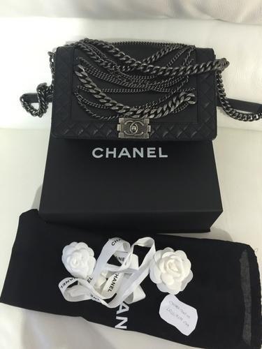 0dcbefbe38f2 Chanel Bag black calfskin enchained boy flap bag   Lollipuff ...