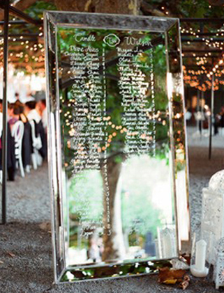 Mirror signs. What a great way to welcome guests to the party. Or let them know where they are seated.