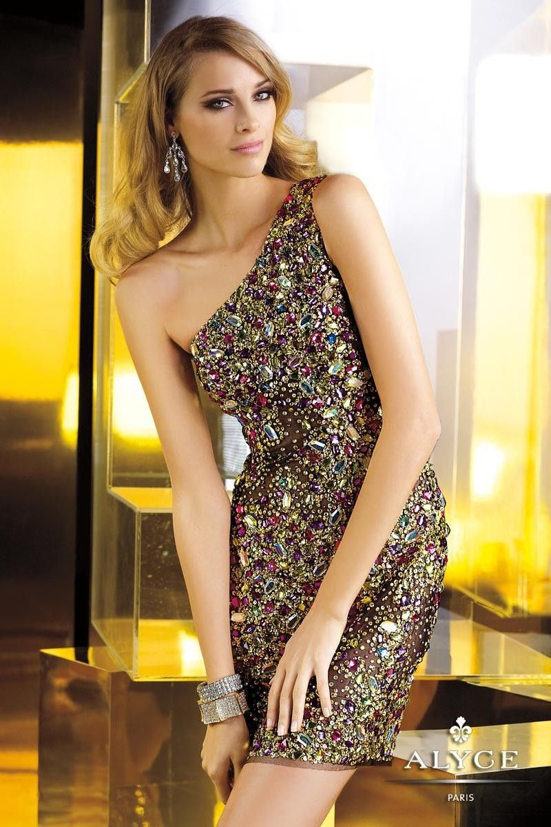 Claudine for Alyce Paris 2270 Jeweled One Shoulder $216.99 Prom Dresses