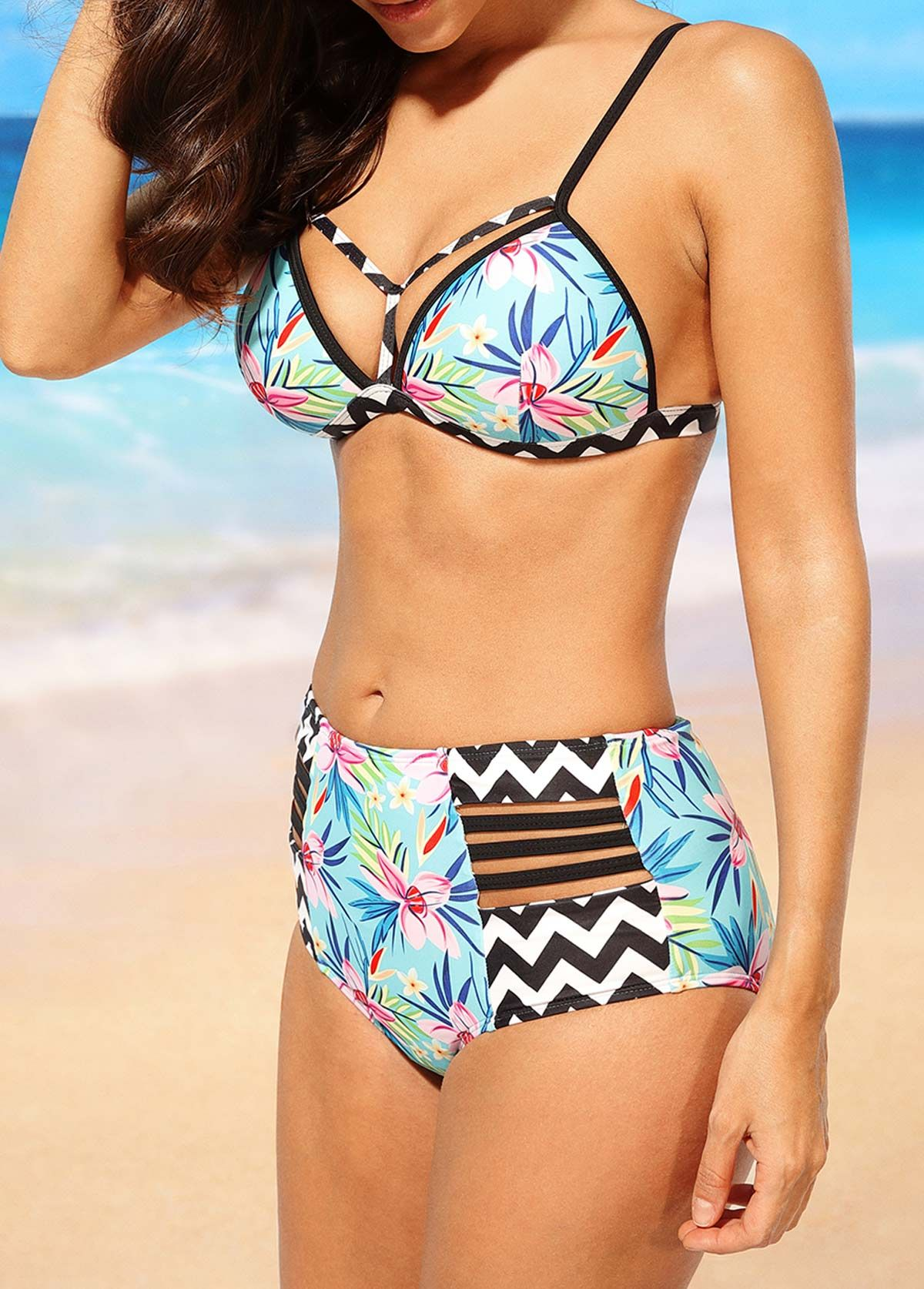 Open Back High Waist Printed Two Piece Swimwear on sale only US$27.23 now, buy cheap Open Back High Waist Printed Two Piece Swimwear at liligal.com