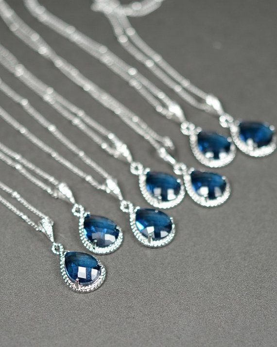Bridesmaid jewelry sapphire blue silver Drop NECKLACE Wedding Bridal
