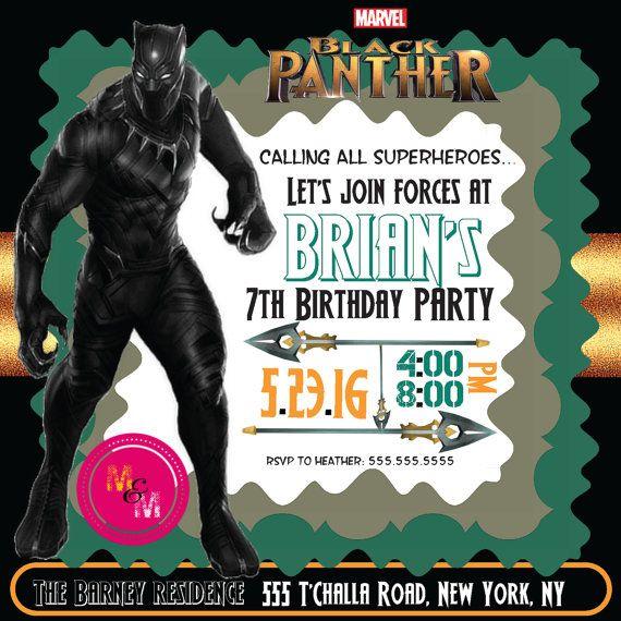 Editable Black Panther Birthday Party Invitation Printable, DIY